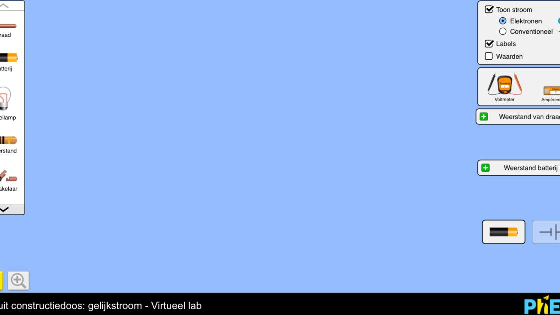 Circuit constructiedoos: gelijkstroom - Virtueel lab