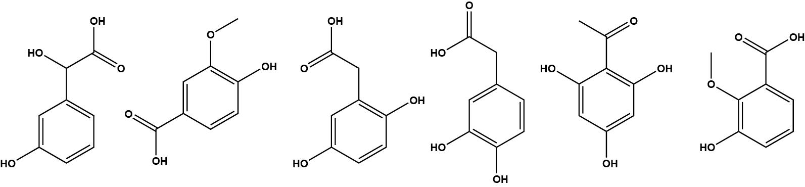 verschillende molecuulstructuren C8H8O4