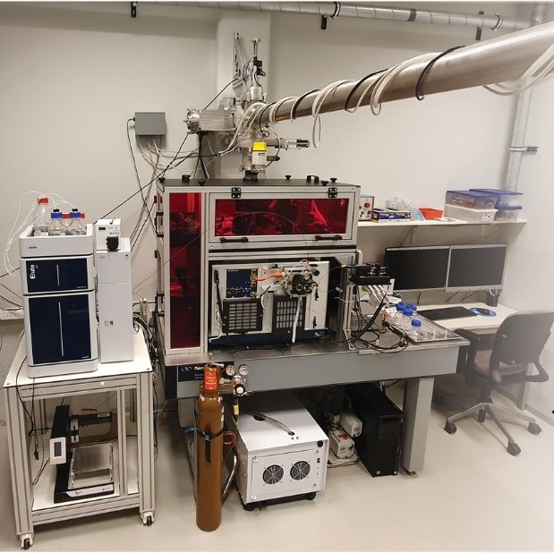 Opstelling massaspectrometer met FEL