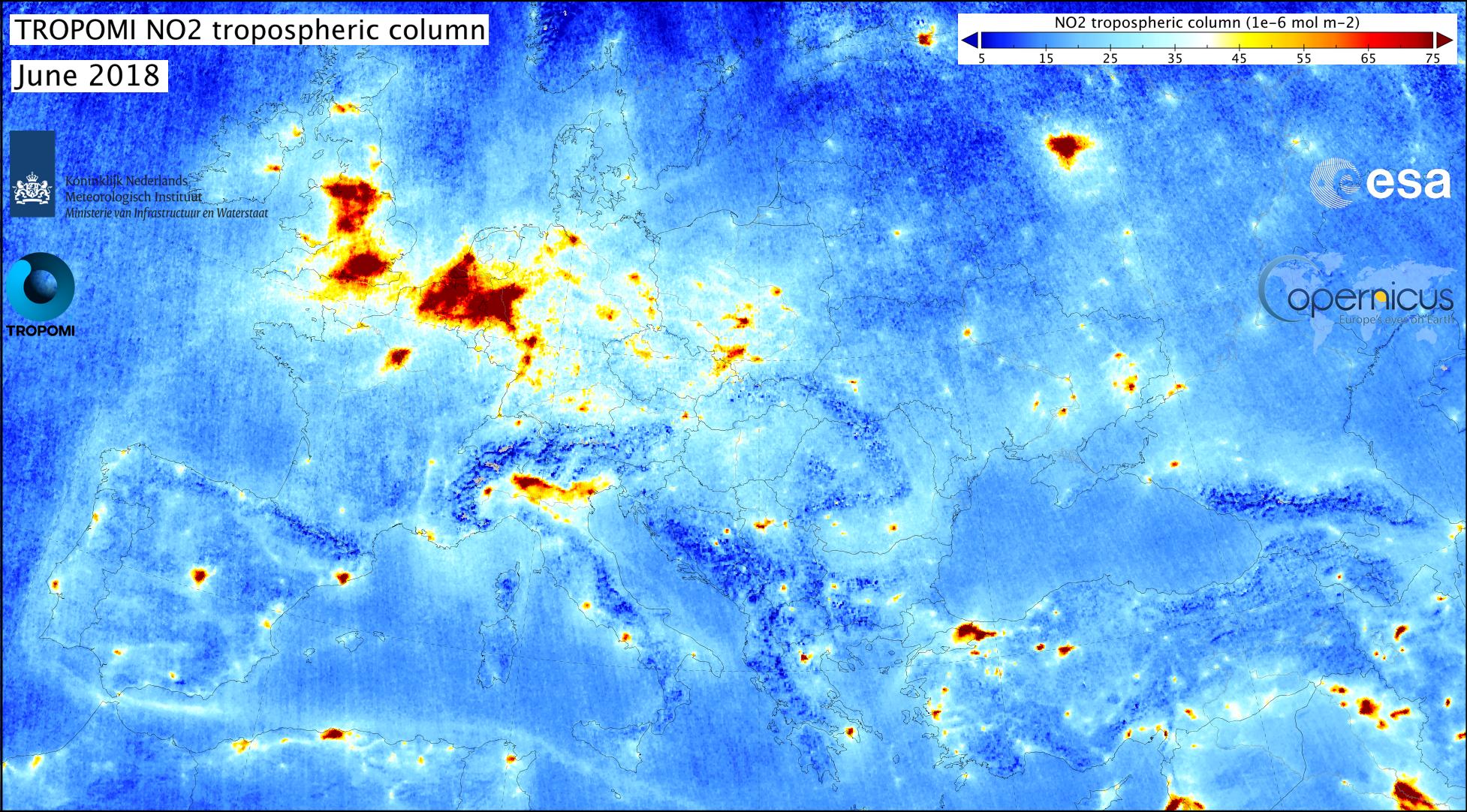 Stikstofdioxide concentraties gemeten met Tropomi