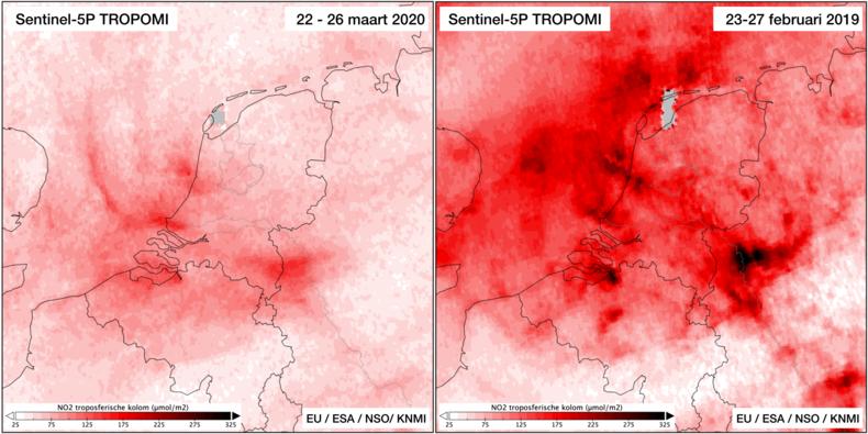Stikstofdioxide concentraties maart 2020 vergeleken met februari 2019