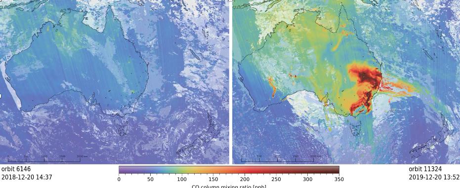 Koolstofmonoxideconcentraties gemeten met tropomi maken bosbranden zichtbaar
