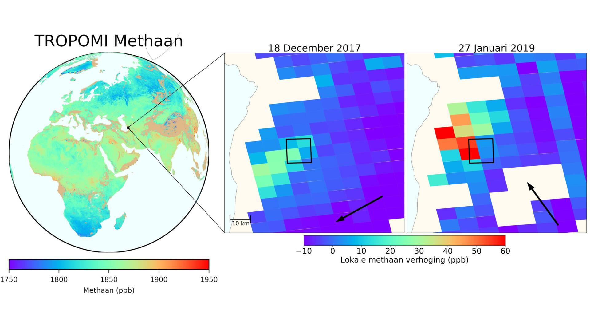 methaanmetingen tropomi maken methaanlek zichtbaar