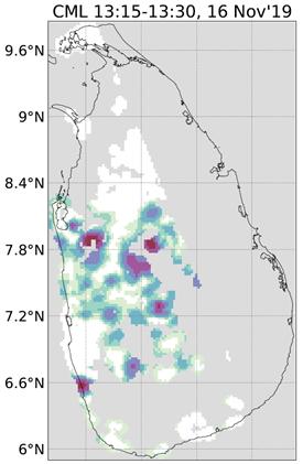 Observaties van een regenbui over Sri Lanka op 16 november 2019 tussen 13:15 en 13:30 uur. Deze regenschattingen zijn berekend met behulp van mobielenetwerkdata. Bron: Overeem et al. (2021): Tropical rainfall monitoring with commercial microwave links in Sri Lanka, Environmental Research Letters.