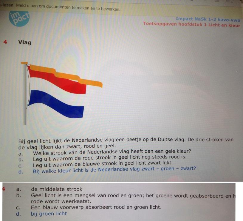 Natuurkunde.nl Weerkaatsen van welke kleuren